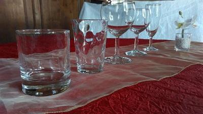 Présentation du verre à whisky, du verre à jus/ enfant, verre à eau, verre à vin et de la flûte à champagne, pour réaliser les plus jolie table de réception